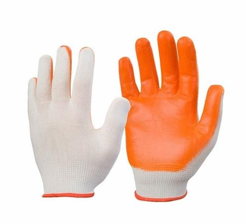 Перчатки нейлоновые с частичным нитриловым покрытием (бел+оранж) №8/600