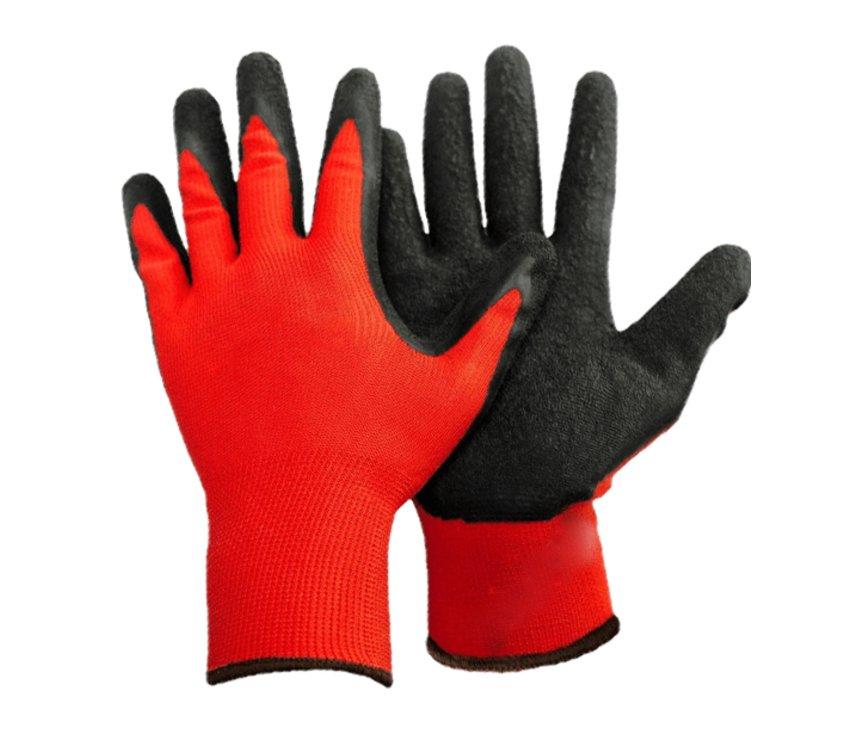 Перчатки нейлоновые с частичным нитриловым покрытием (красн+черн) №10/960