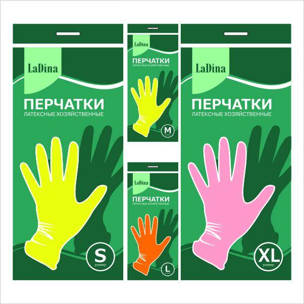 Перчатки резиновые LADINA 4 размера №30101/240/12