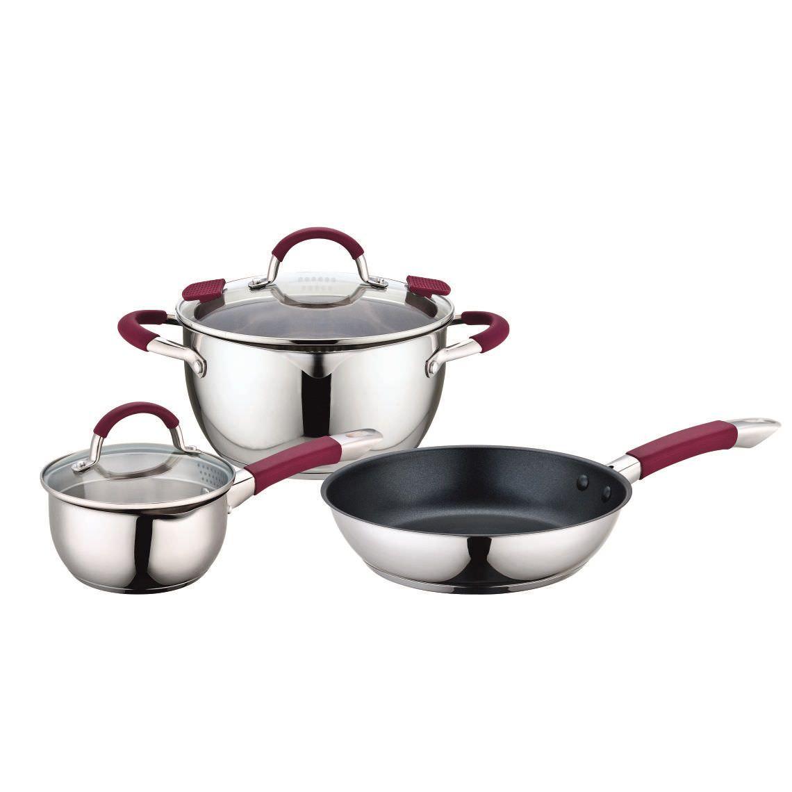 Набор посуды из нерж стали 5пр VALERI(ковш 16см,кастрюля22см,сковорода 24см)  64030/2