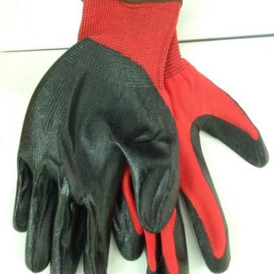 Перчатки нейлон №10 черный (красная нить)