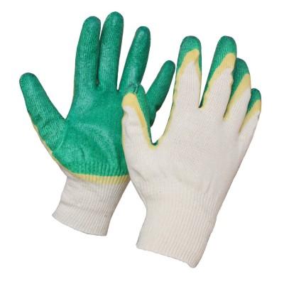 Перчатки х/б с латексным покрытием (двойной облив) жёлто-зеленые 13кл №9/200/10