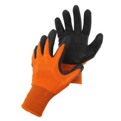 Перчатки нейлоновые с частичным нитриловым покрытием (оранж+черн) №10/960