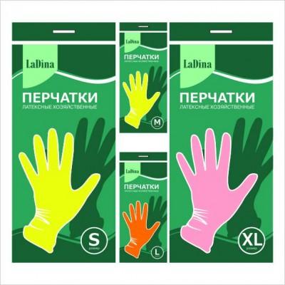 Перчатки резиновые LADINA 4 размера №30101