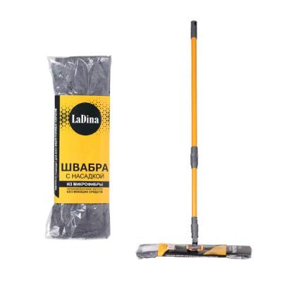 Швабра плоская с насадкой из микрофибры (желт.+сер.) 300001-1/30
